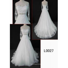 Vestido de boda nupcial del cordón de la manera larga de las mangas
