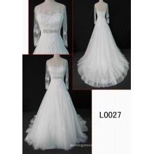 Mangas compridas moda de renda vestido de noiva nupcial