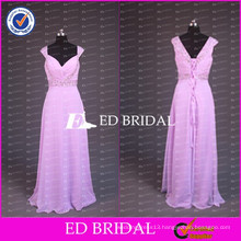 ED Bridal Elegant Real Sample Beaded Cap Sleeve Sweetheart Chiffon Long Pink Prom Dresses 2017