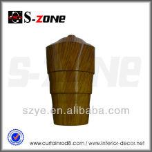 Poteau de rideau en bois en forme de bois en PVC PVC rideau en plastique finials design moderne finials
