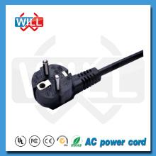 VDE 2 Pin Pin redondo Cable de alimentación europeo del enchufe