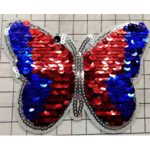 coloful bướm sequin patch với cắt laser