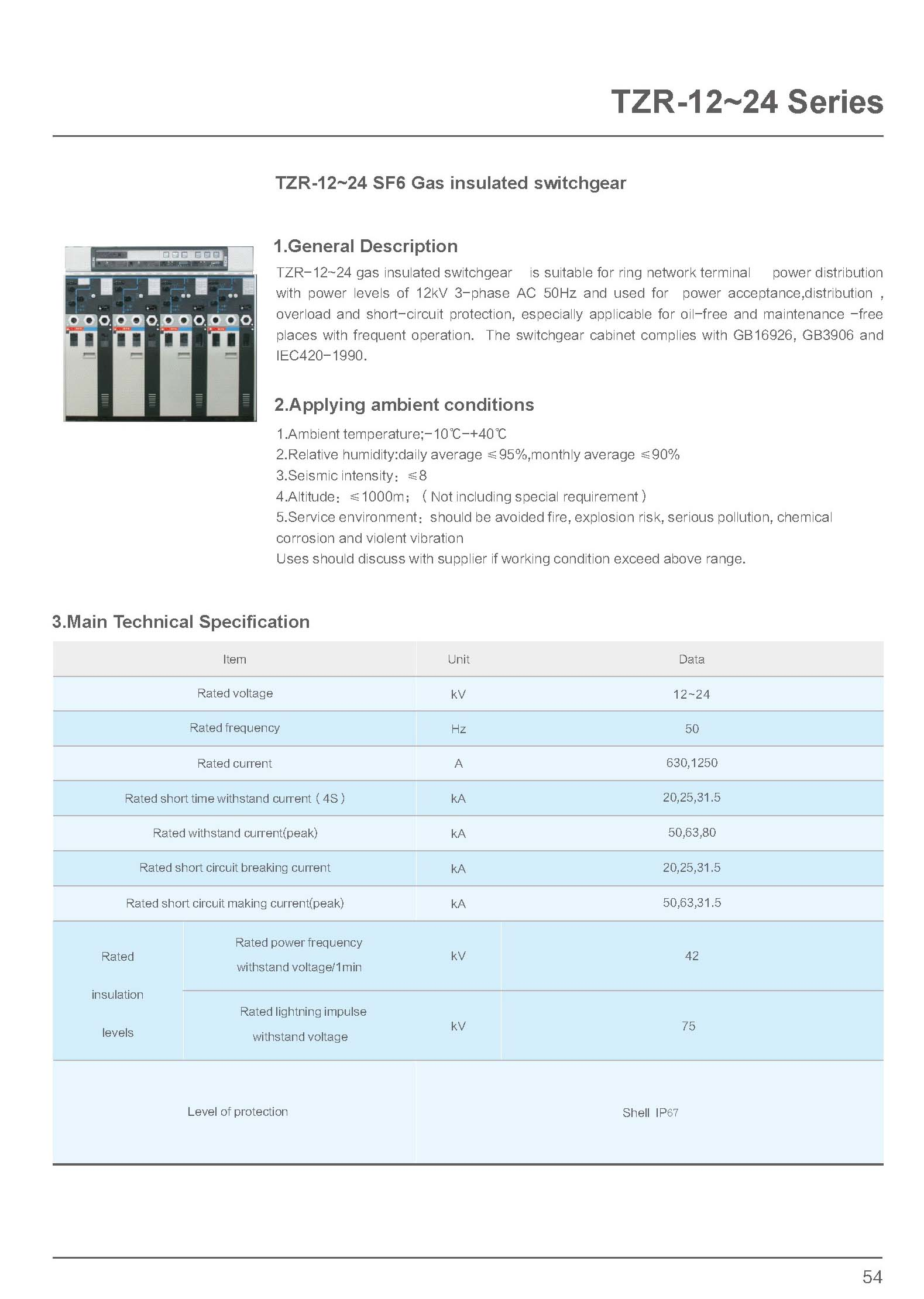 SF6 Gas Insulated Switchgear Technical Specification