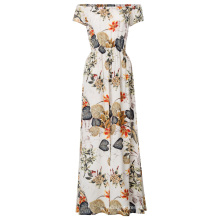 Kate Kasin Sexy Women Floral Pattern Short Sleeve Off Shoulder Front Split Jumpsuit Dress KK000709-2