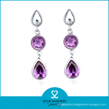 Charming Silver Amethyst Prong Setting Drop Earrings (SH-E0167)
