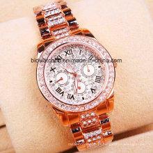 Alta qualidade liga quartzo relógio de pulso de ouro relógio de pulso para senhora