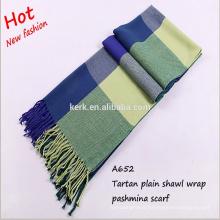 Women's Large tartan hijab scarf cape camel knitting pashmina shawl