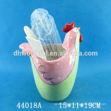 Lindo frango de Páscoa projetado titular utensílio de cerâmica