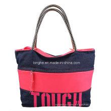 Contrast Color Canvas Shopper Lady Tote Bag (ZXS0009)