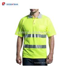 Tejido de alta visibilidad personalizado Hi Vis Polo con cintas reflectantes Verde lima manga corta Safety Workwear Pocket