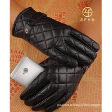 Hommes, couleur noire, smartphone, écran tactile, broderie, design, cuir, gants