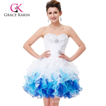 Grace Karin Strapless Sweetheart White & Blue Sexy Cocktail Dresses CL4977-2