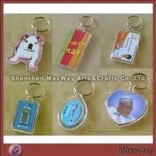 Elegant clear polished promotional acrylic key chain/ring/holder with your picture or ad