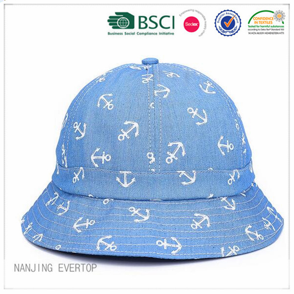 Custom Full Printing Bomull Denim Bucket Hat
