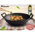 Preseasoned cast iron wok with two ears