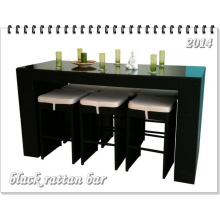 7 PCS Black Wicker Bar Set Outdoor Rattan Furniture