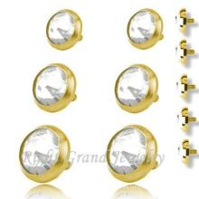Zambullidor plateado oro de la piel tapas cuerpo de acero quirúrgico 316L Piercing joyería Micro cutáneos anclas