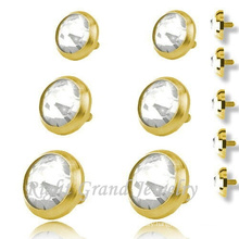 Gold Plated Skin Diver Tops 316L Surgical Steel Body Piercing Jewelry-Micro Dermal Anchors