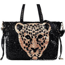 Fashion Ladies' PU Handbag, Black Bag Decorated with Animal Pattern Palette Aluminum