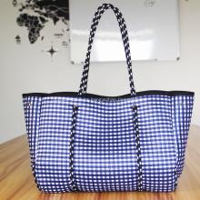 Plaid neoprene beach bag for lady
