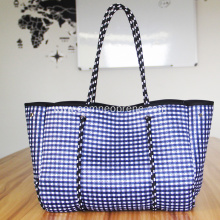 Hot sale for Neoprene Beach Bags Plaid neoprene beach bag for lady export to Indonesia Importers