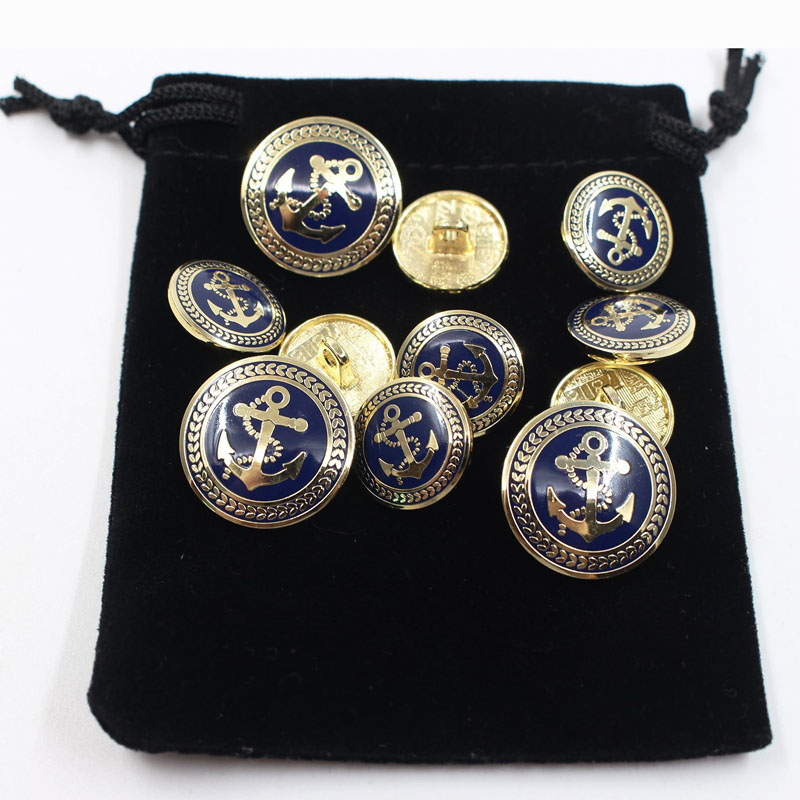 Vintage Golden Blue Metal Blazer Button Set Bags