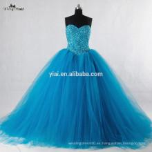 RSW943 sin mangas vestido de bola de soplado Tulle rebordeado turquesa vestido de novia