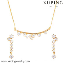 63666- Xuping Big promotion 18k gold jewelry modern sale set design