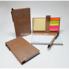 Fabriek directe kleverige Notebook Set w / gerecycleerd Pen