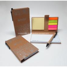 Direta da fábrica Notebook pegajoso Set w / caneta reciclada