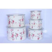 5 pc new decal enamel high cream ice bowl & carbon steel enamel coating