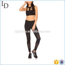 Sexy Mesh Nylon Spandex Yogahosen und Sport-BH setzt athletische Yoga-Kleidung