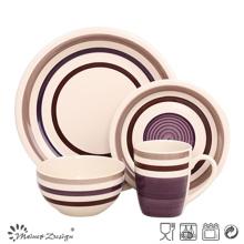 16PCS haute qualité peint à la main en céramique gris ensemble de dîner