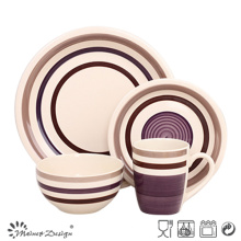 16PCS High Quality Handpainted Grey Ceramic Dinner Set