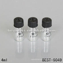 1 ml / 2 ml / 3 ml / 4 ml botella de vidrio de tubo transparente pequeño con tapa de rosca de plástico y la impresión con embalaje químico