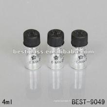 1ml / 2ml / 3ml / 4ml petit verre transparent bouteille avec bouchon à vis en plastique et impression en utilisant un emballage chimique