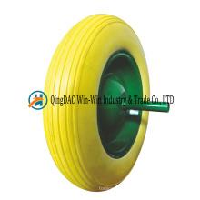 Pneu de brouette solide de mousse de polyuréthane de 3.50-8 avec la couleur de rayon