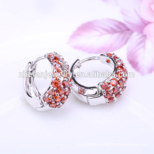 Bisuteria Fashionable Garnet Zircon Huggie Earrings