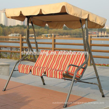 Hot selling metal swing rattan chair 3 seat for adults leisure garden furniture