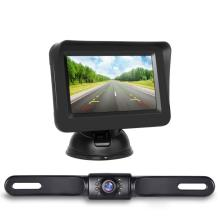 Câmera retrovisora da placa de carro e tela de 4,3 polegadas