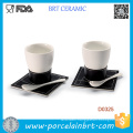 White Ceramic Coffee Cup with Spoon and Tray