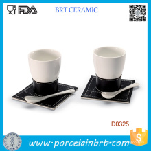 Чашка белая Керамическая Кофейная с ложкой и лоток