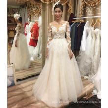 Alibaba vente chaude à manches longues une robe de mariée robe de mariée