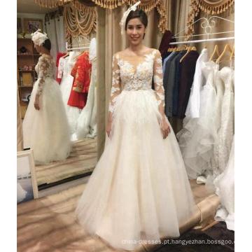 Alibaba venda quente manga longa a linha de vestido de noiva vestido de noiva