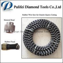 Le fil fritté par caoutchouc de perle de diamant de 11mm a vu la carrière de granit de coupe