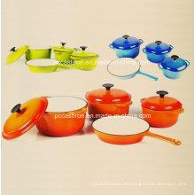 La fábrica LFGB aprobó fábrica de los utensilios de cocina del arrabio del esmalte 4PCS China