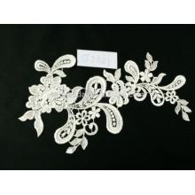 Venda quente tecido de renda bordado elegante para vestidos de casamento fábrica