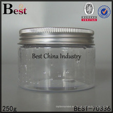 envase plástico claro de la botella, tarro plástico claro 250g, proveedor plástico grande del tarro