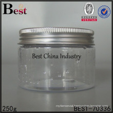 clear bottle plastic container, 250g clear plastic jar, big size plastic jar supplier