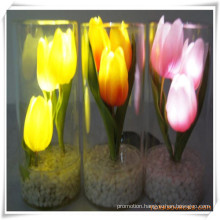 3PCS Peony LED Artificial Flowers with Glass Cup for Promotion